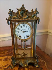 Antique Seth Thomas Brass & Beveled Glass Mantel Clock