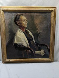 Cyril Ferring Old Woman in Chair Oil Painting Portrait