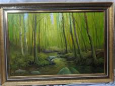 Signed Sara Large Forest at Dusk Oil Painting