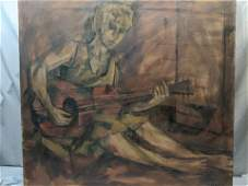 Signed Wendt Girl Playing Guitar Large Oil Painting
