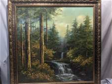 Signed Carlton Large Waterfall Forest Scene Oil