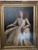 Mildred Mai Ledger Portrait of Woman Large Oil Painting