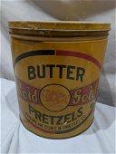 Antique Rold Gold Butter Pretzel's Tin Container