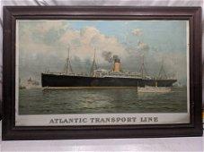 Minneapolis Atlantic Transport Line Huge Framed Litho