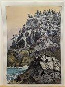 1975 Toshi Yoshida Japanese Woodblock Print Cormorant
