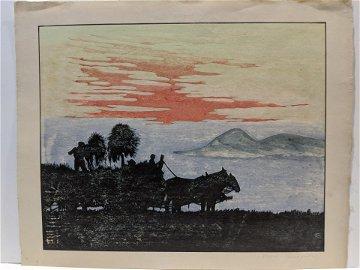 Kazue Yamagishi Japanese Woodblock Print Carriage