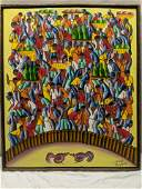 Signed Haitian Cock Rooster Fight Oil Painting