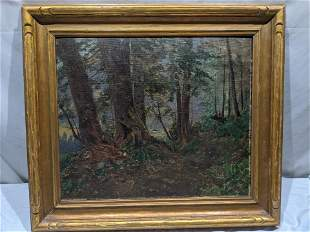 Unsigned Vintage Forest Scene Oil on Board Painting