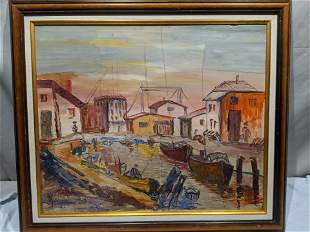 Alex Dery Port Scene Oil on Board Painting