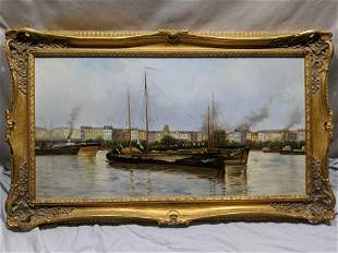 Signed H Jensen? Boats in Harbor Oil Painting
