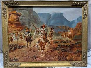 Edith Temple Native Indian Americans on Horses Painting