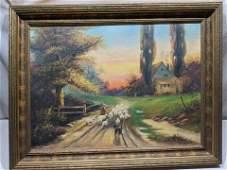 Tom Gobowski Sheepherder Landscape Oil Painting