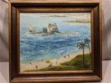 Signed Racz Impressionist Beach Scene Oil Painting