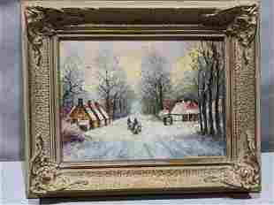 Pieter Van Beek Winter Street Scene Small Oil Painting