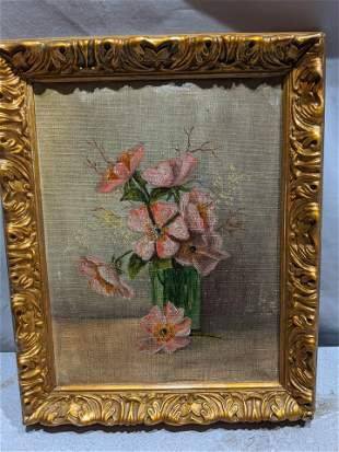 Unsigned Still-Life Flowers in Vase Oil Painting