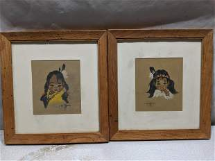 Pair Gerda Christofferson Pastel Native Indian Girls