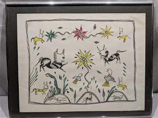 Signed Fold Art Crude Animals Watercolor Painting