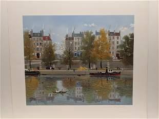 Michel Delacroix Le Canotier Paper LTD ED Serigraph