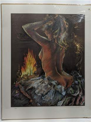 Signed LTD ED Lithograph Nude Woman Before Fire