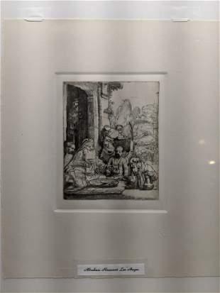 Rembrandt Restrike Etching #29 Abraham Entertaining