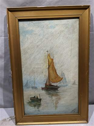 Charles France Sailboats in Water Oil Painting