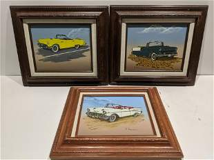 Lot 3 H Hargrove 1950's Chevy Chevrolet Car Paintings