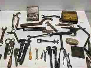 Lot Antique Automobile Mechanic Tools Ford Pierce etc