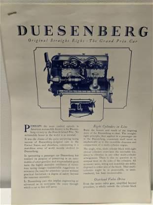 Original Duesenberg Straight 8 Grand Prix Brochure
