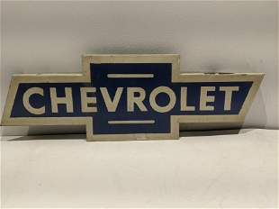 Vintage Painted Metal Chevrolet Flange Advert Sign
