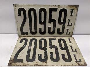 Pair Pre 1911 Illinois CH Hanson Metal License Plates