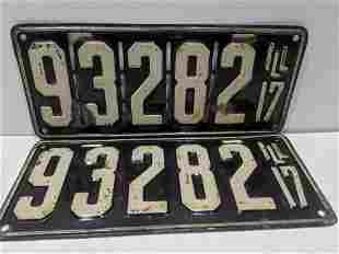 Pair 1917 Original Illinois License Plates