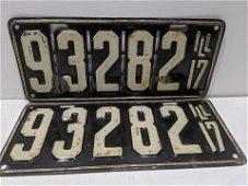 Pair 1917 Original Illinois License Plates