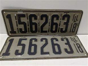 Pair 1918 Original Illinois License Plates
