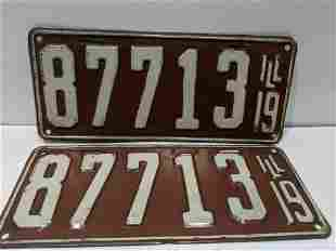 Pair 1919 Original Illinois License Plates