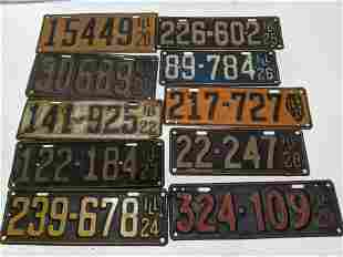 Lot 10 1920-1929 Illinois License Plates