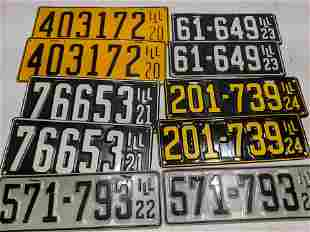 Lot 10 1920-24 Restored Illinois License Plates Pairs