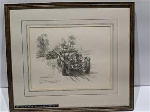 1930 Le Mans Michael Turner Drawing of Winning Bentley