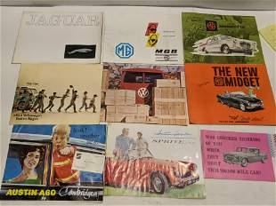 Lot 9 c1960's European Car Brochures VW MG  Jaguar etc