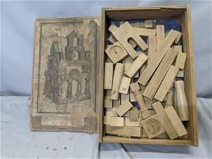 Antique Wooden German Building Block Play Set in Box