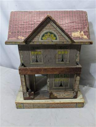 c1900 Paper over Wood American Dollhouse Reed or Bliss?