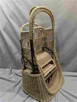 1902 Antique Withrow MFG Wicker Fold Up Baby Stroller