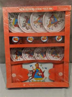 Vintage NOS Ohio Art Red Riding Hood Tin Litho Tea Set