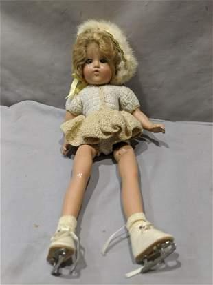 Vintage Composition Girl on Skates Doll