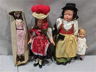 Lot 4 Celluloid & Hard Plastic Vintage Assorted Dolls