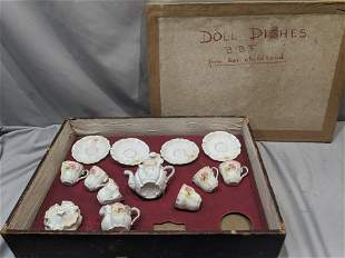 Set 13 Antique German Porcelain Doll Tea Set