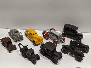 Lot 9 Cast Iron Assorted Vehicles Cars Truck Tractor