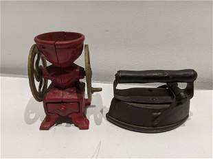 Pair Antique Cast Iron Miniature Coffee Grinder & Iron