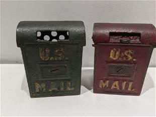 Pair Antique Cast Iron US Mail Box Still Banks