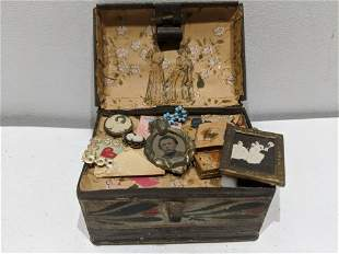 19th Century Miniature Tin Hope Chest w/ Trinkets