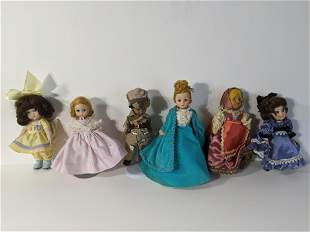 Lot 6 Assorted dolls Madame Alexander Ginny Repros etc